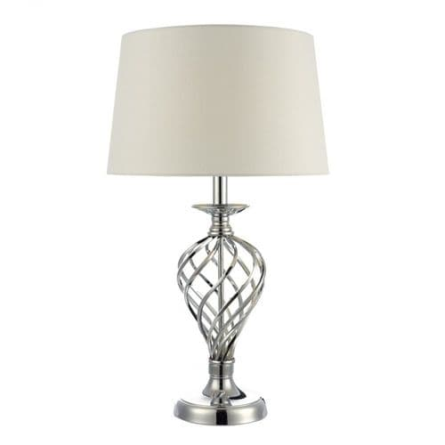 Dar IFF4350 Iffley Touch Table Lamp Polished Chrome Twist Cage Base With Ivory Shade
